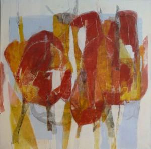 """""""Red tulip"""", tempera og blyant på lerret, 80x80cm"""