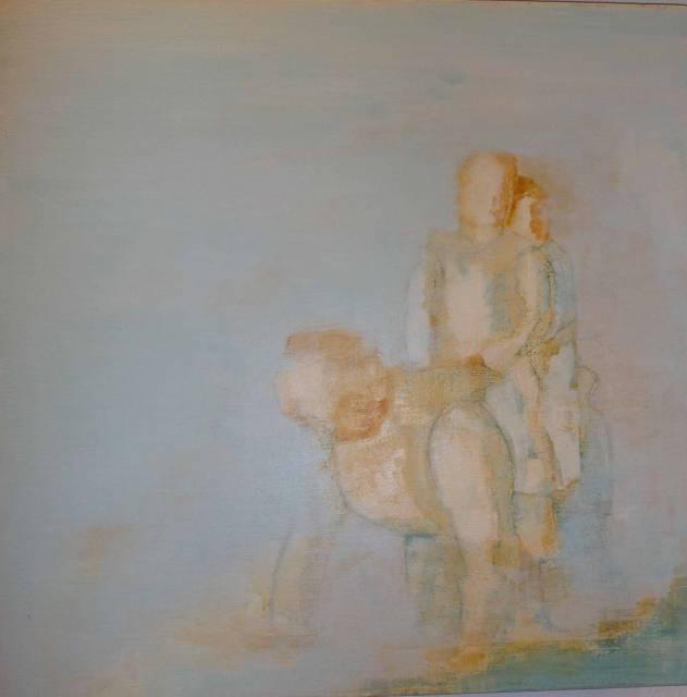 """""""Far er hest"""", tempera på lerret, 60x60cm"""