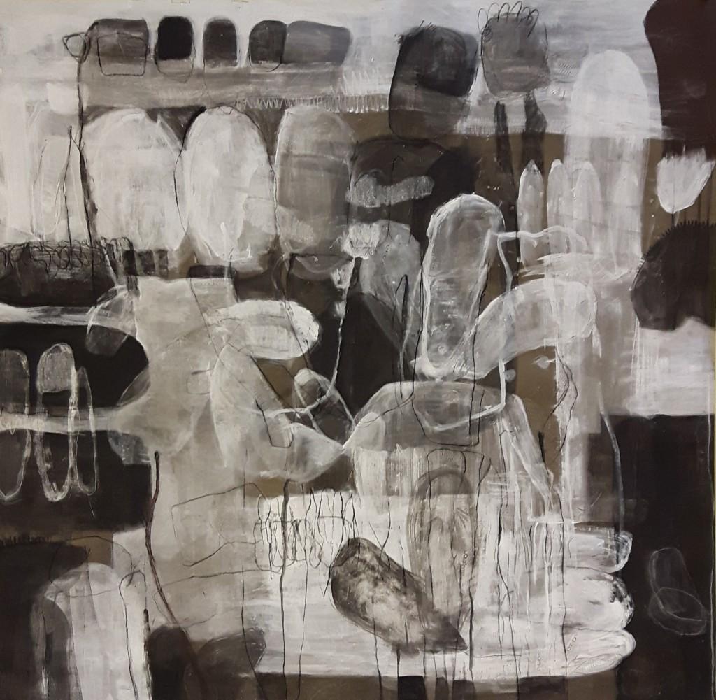 Akryl, kritt og kull på lerret, 190x190cm