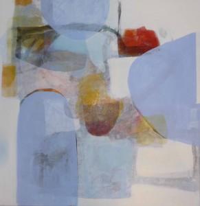 """""""Under snøen 2"""", tempera og blyant på lerret, 80x80cm"""