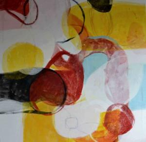 """Blandet drops"", utsnitt, tempera og blyant på lerret 100x120cm"