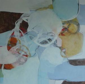 """""""Krukken"""", tempera og blyant på lerret, 100x100cm"""